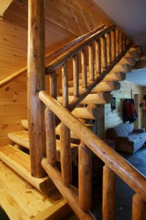 Half Log Staircase with Tenoned Rail